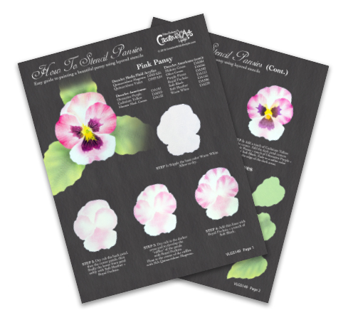 How To Stencil Pansies Worksheet - Pink