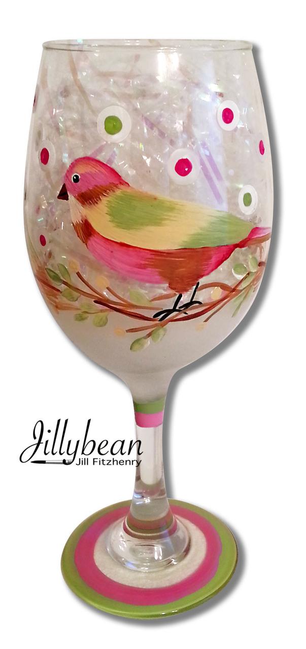 Bird Wine Glass - E-Packet - Jill Fitzhenry
