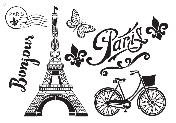 "Paris Bicycle Postcard - Art Stencil -  13"" X 9"""