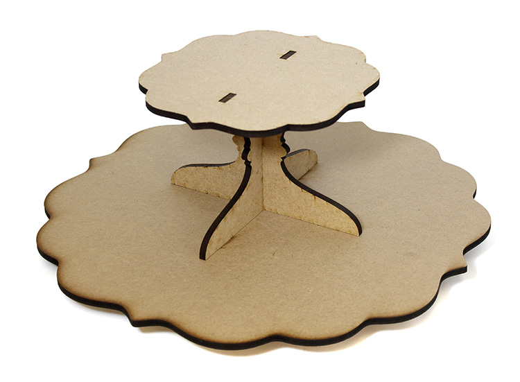 Fancy Scalloped Lazy Susan with Tier - Includes Base