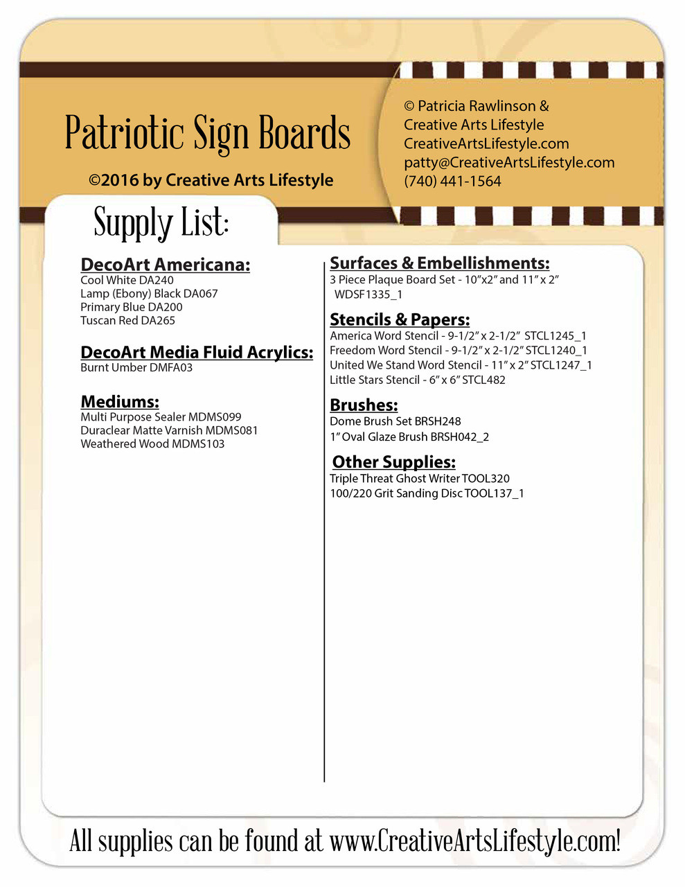 Patriotic Sign Boards Pattern Packet - Patricia Rawlinson