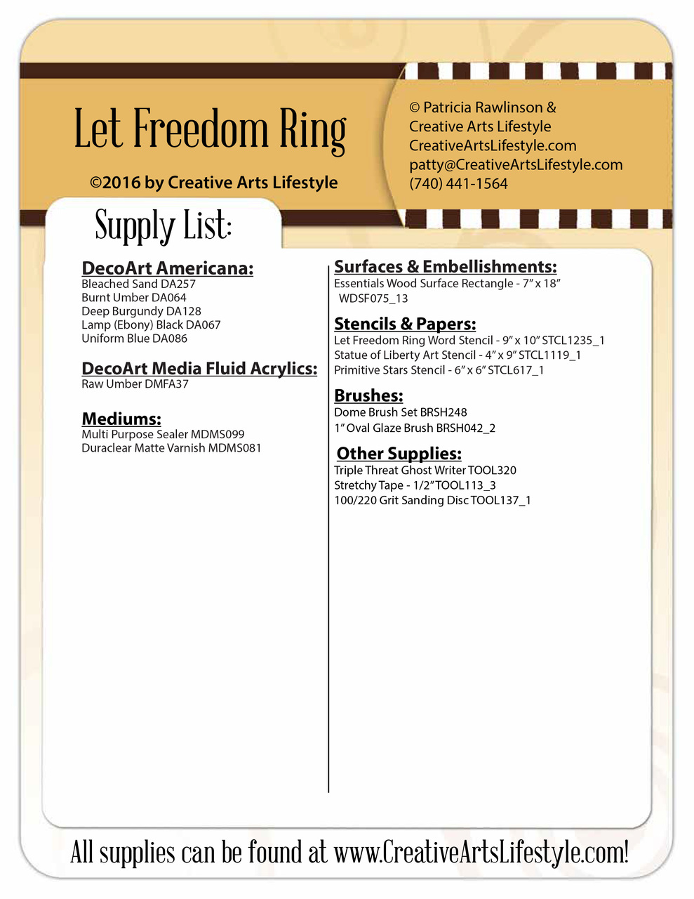 Let Freedom Ring Plaque Pattern Packet - Patricia Rawlinson