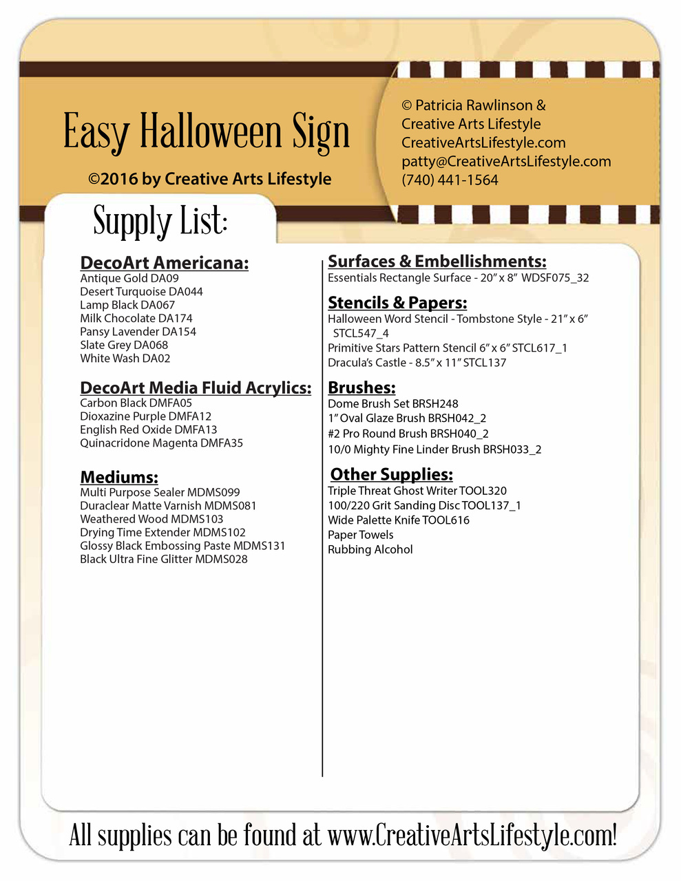 Easy Halloween Sign - Pattern Packet by Patricia Rawlinson