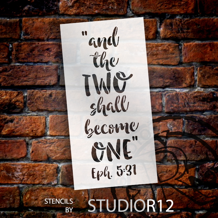 "And the Two Shall Become One - Word Stencil - 7"" x 15"" - STCL1580_2 by StudioR12"