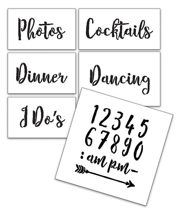 Wedding Stencil Words - Fun Stuff - Rustic Script 6pc Small Set - STCL1593_1 by StudioR12