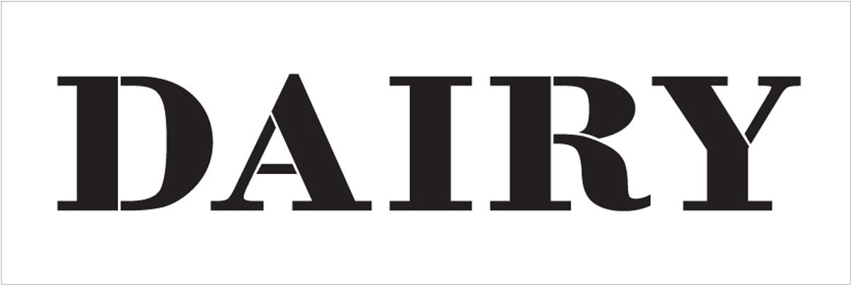 "Dairy - Farmhouse Serif - Word Stencil - 12"" x 4"" - STCL1961_1 - by StudioR12"