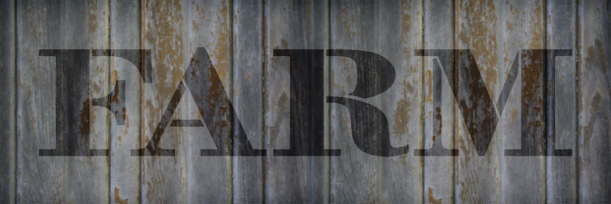 "Farm - Farmhouse Serif - Word Stencil - 30"" x 8"" - STCL1963_5 - by StudioR12"