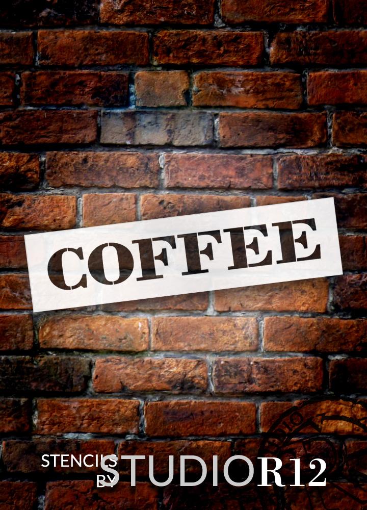 "Coffee - Farmhouse Serif - Word Stencil - 20"" x 5"" - STCL1965_3 - by StudioR12"