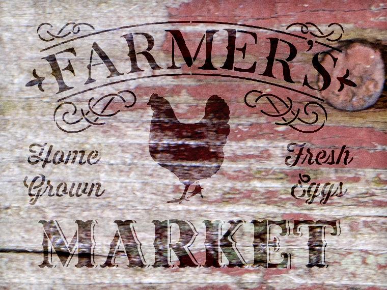 """Farmer's Market - Word Art Stencil - 16"""" x 12"""" - STCL1971_1 - by StudioR12"""