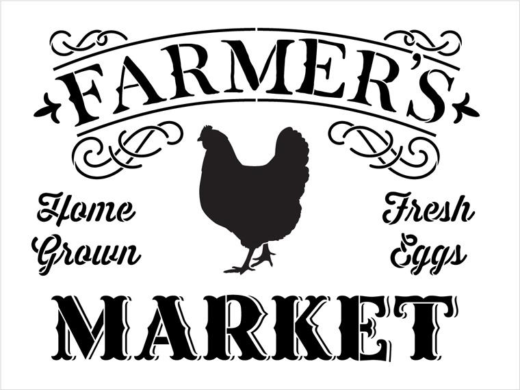 """Farmer's Market - Word Art Stencil - 20"""" x 15"""" - STCL1971_2 - by StudioR12"""