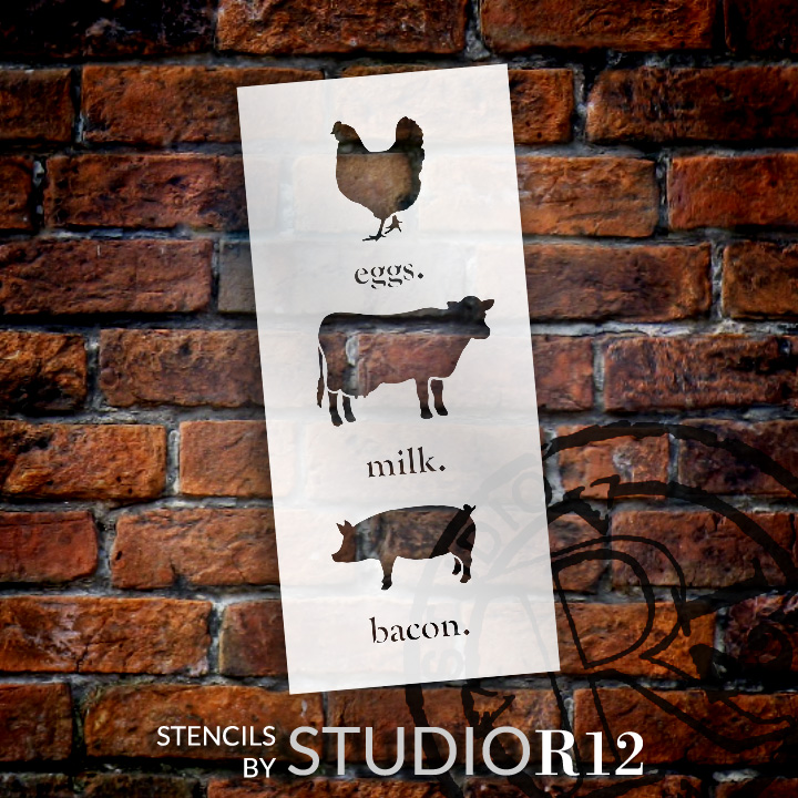 "Eggs Milk Bacon - Word Art Stencil - 8"" x 18"" - STCL1975_1 - by StudioR12"