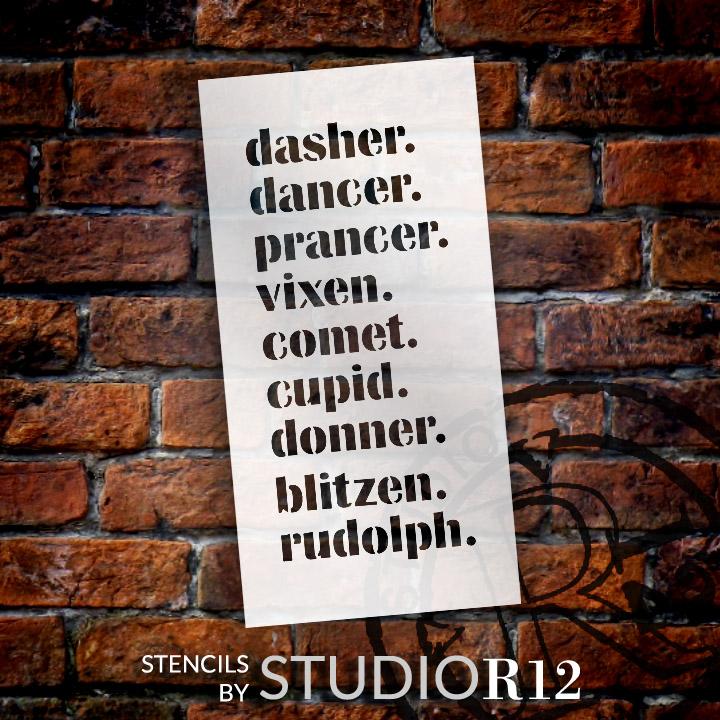"""Reindeer Names - Word Stencil - 11"""" x 22"""" - STCL1987_4 - by StudioR12"""