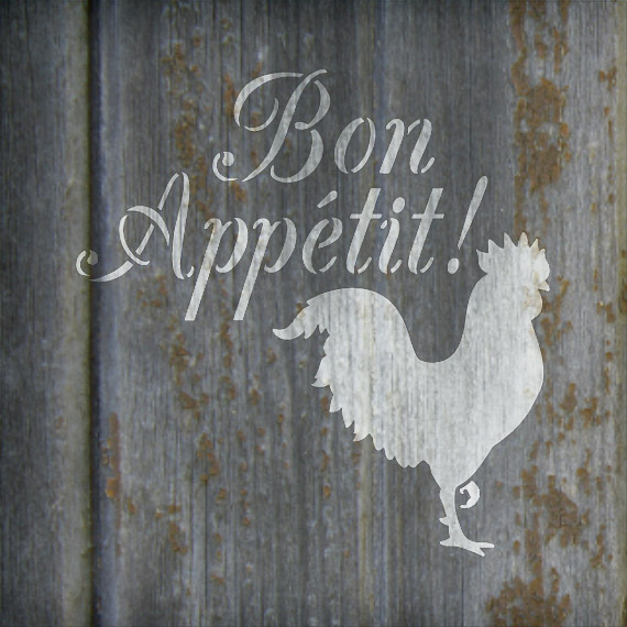 "Bon Appetit - Rooster - Word Art Stencil - 10"" x 10"" - STCL1990_2 - by StudioR12"