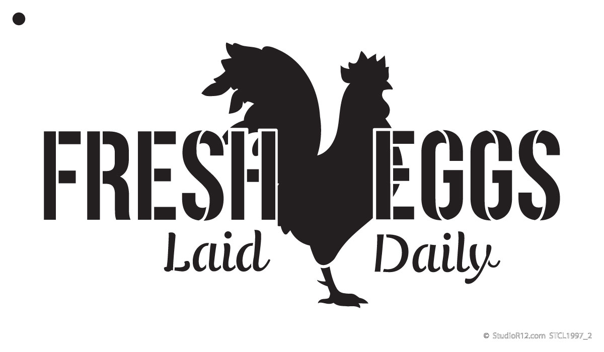 "Fresh Eggs - Chicken - Word Art Stencil - 12"" x 7"" - STCL1997_2 - by StudioR12"