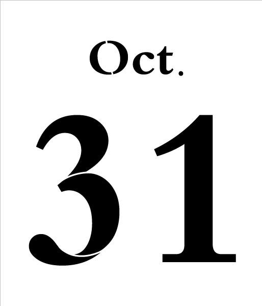 "Oct. 31 Halloween Stencil - 7"" x 6"" - STCL2008_1 - by StudioR12"