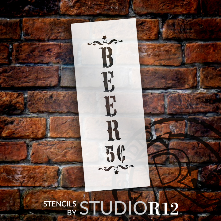 "Beer - Decorative Vertical - Word Art Stencil - 8"" x 22"" - STCL1887_4 - by StudioR12"