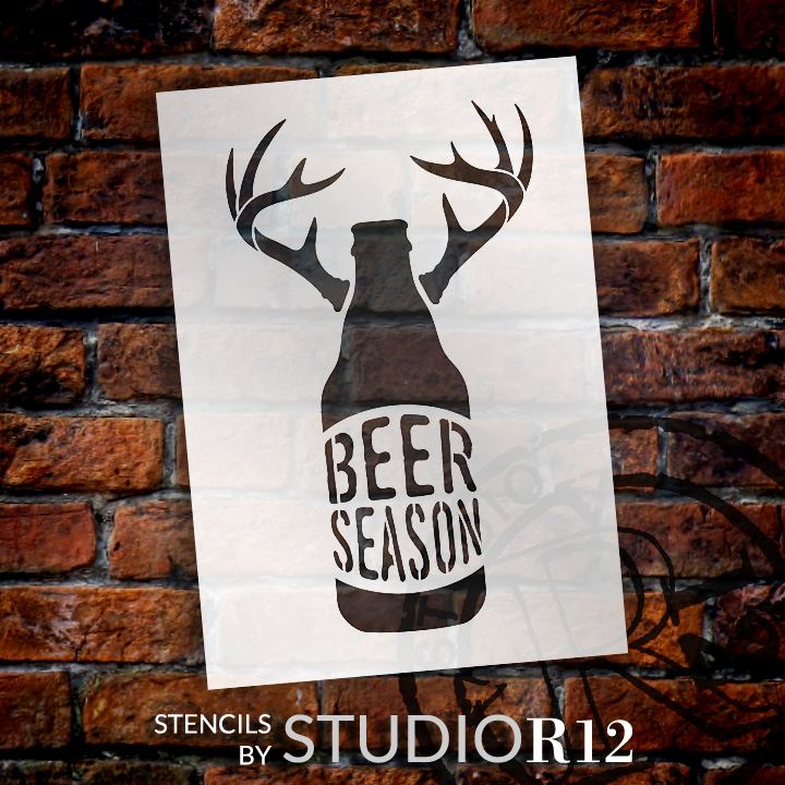 "Beer Season - Bottle With Antlers - Word Art Stencil - 7"" x 10"" - STCL1883_1 - by StudioR12"