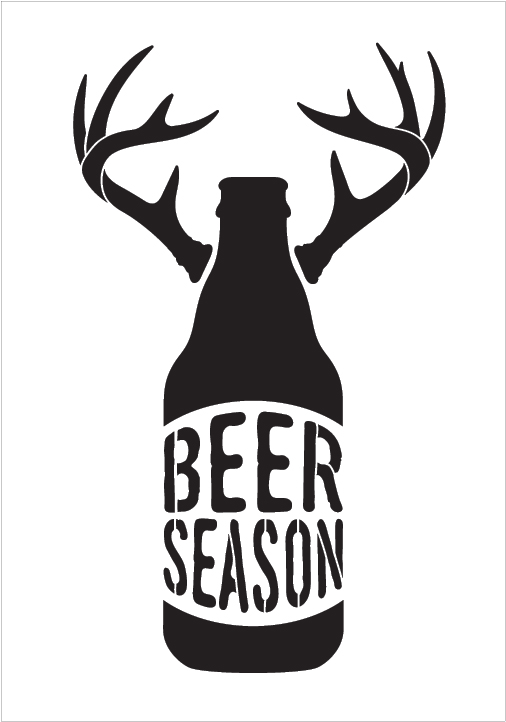 "Beer Season - Bottle With Antlers - Word Art Stencil - 10"" x 15"" - STCL1883_2 - by StudioR12"