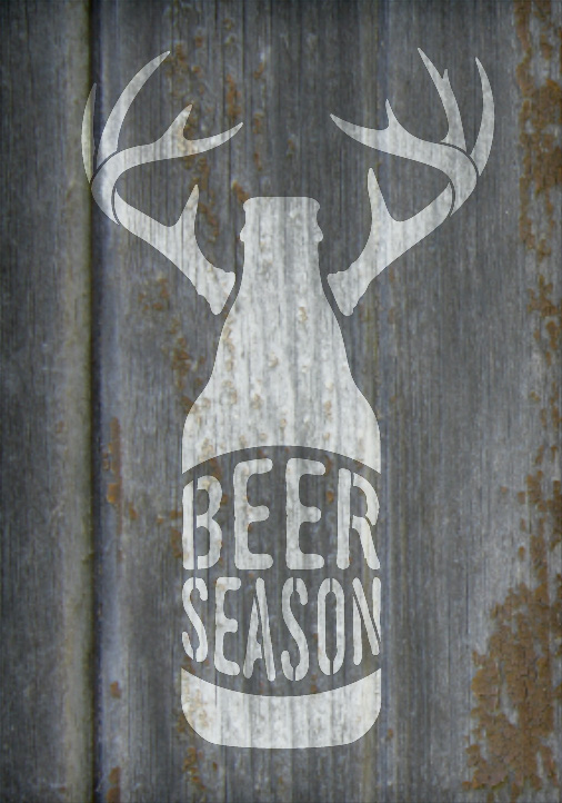 "Beer Season - Bottle With Antlers - Word Art Stencil - 14"" x 20"" - STCL1883_3 - by StudioR12"