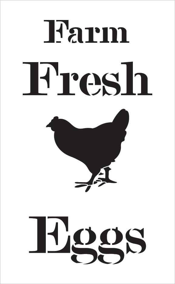 "Farm Fresh Eggs - Chicken - Serif - Word Art Stencil - 10"" x 16"" - STCL2057_2 - by StudioR12"