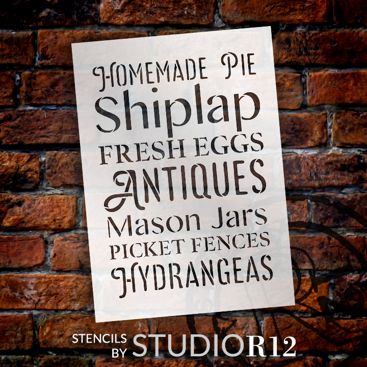"Homemade Pie - Antiques - Hydrangeas - Word Stencil - 18"" x 24"" - STCL2181_4 - by StudioR12"