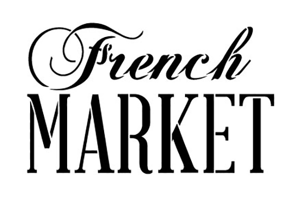 """French Market Word Stencil by StudioR12    Painting, Chalk   Use for Wood Signs, Painted Furniture, Home Decor - 15"""" x 10"""" - STCL909_4"""