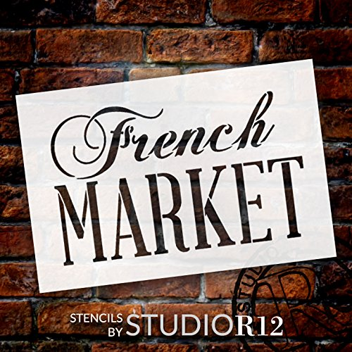 """French Market Word Stencil by StudioR12    Painting, Chalk   Use for Wood Signs, Painted Furniture, Home Decor - 18"""" x 12"""" - STCL909_5"""