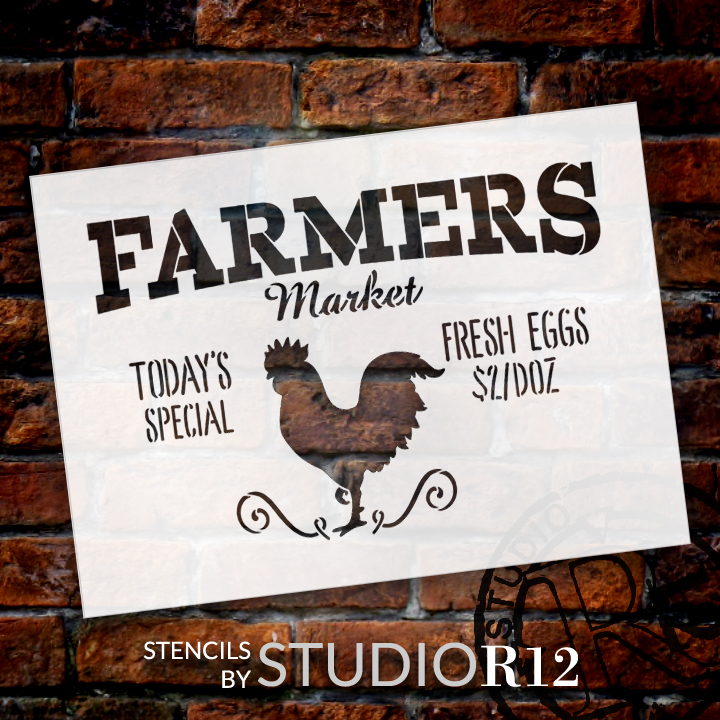 "Farmers Market - Today's Special - Fresh Eggs $2/Doz Word Stencil by StudioR12 - Rooster Word Art - 20"" x 15"" - STCL2186_4"