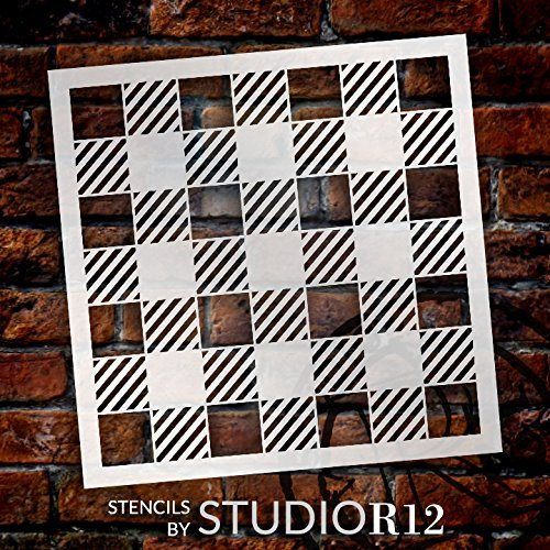 Buffalo Plaid Check Stencil | For Painting Wood Signs, Furniture, Totes and Fabric | Lumber Jack Pattern | Diagonal Large Square Pattern | Easy to create Home Decor - Choose Size
