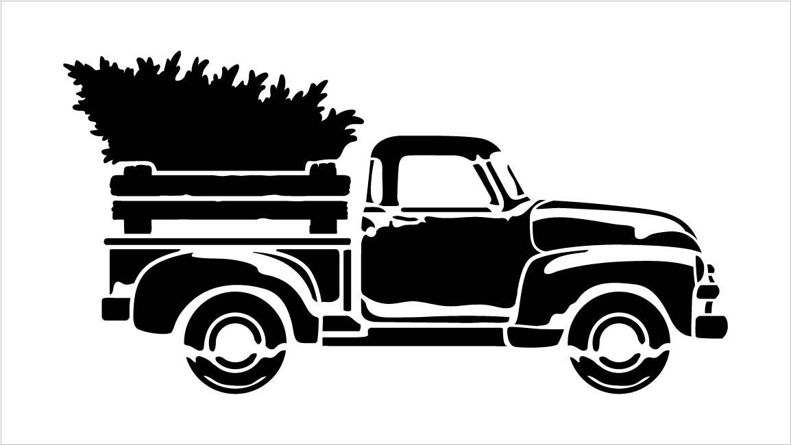 Little Red Truck, Merry Christmas Word Stencil with Tree | For Painting Wood Signs | Vintage Script Lettering | Nostalgic Holiday Home Decor | Rustic Old Fashioned Holiday : Choose Size …