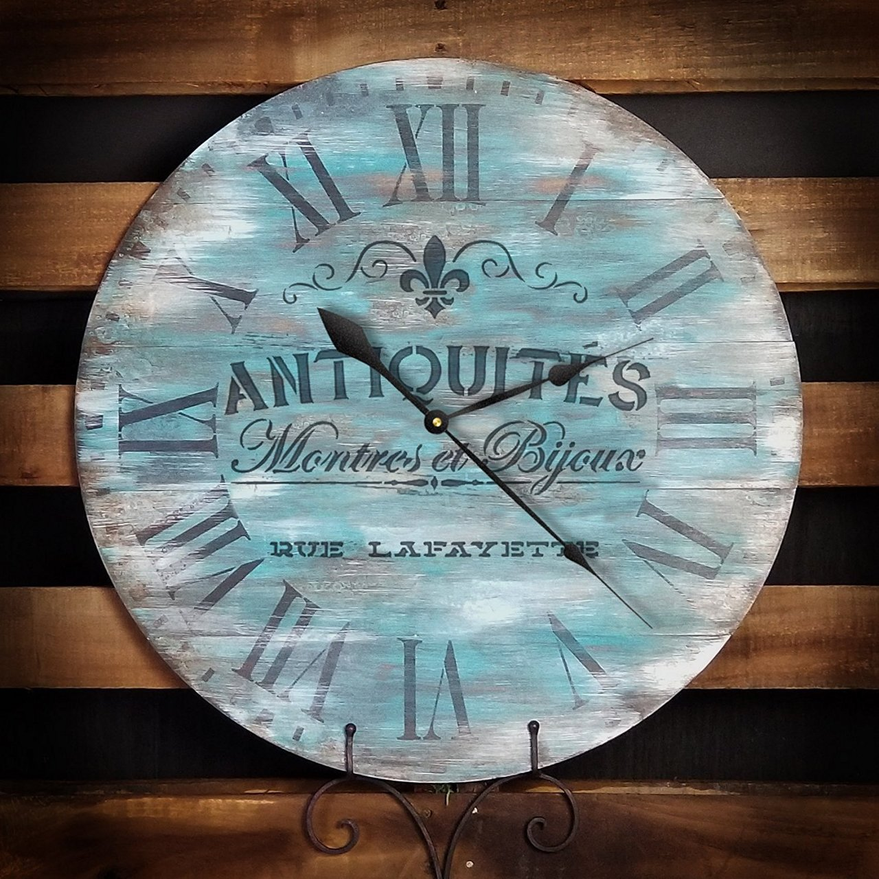 """Round Clock Stencil - Roman Numerals - French Antique Words - DIY Painting Vintage Country Farmhouse Home Decor Walls - Select Size (14"""")"""