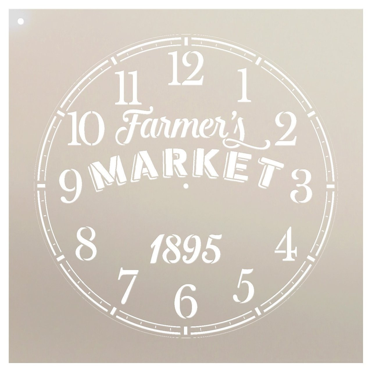Round Clock Stencil - Farmers Market Words - Small to Extra Large DIY Painting on Wood for Farmhouse Country Home Decor Walls - STCL2430 - Select Size