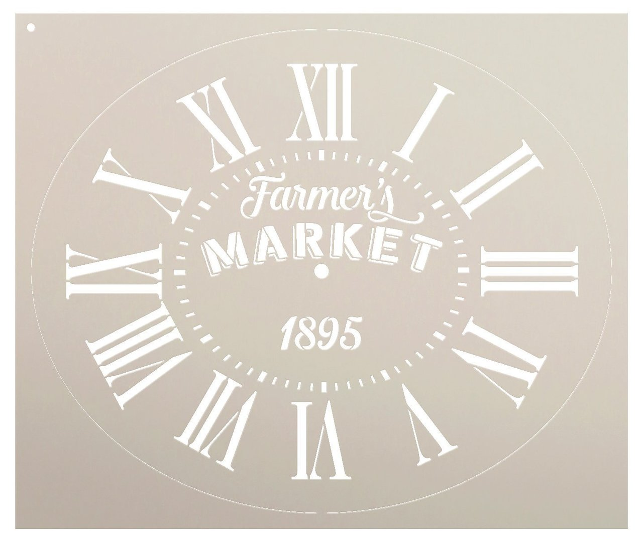 """Oval Clock Stencil w/Roman Numerals - Farmers Market Letters - DIY Painting Vintage Rustic Farmhouse Country Home Decor Walls - Select Size (20"""")"""