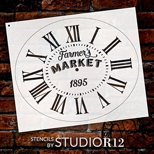 Oval Clock Stencil w/Roman Numerals - Farmers Market Letters - DIY Painting Vintage Rustic Farmhouse Country Home Decor Walls - STCL2422 - Select Size