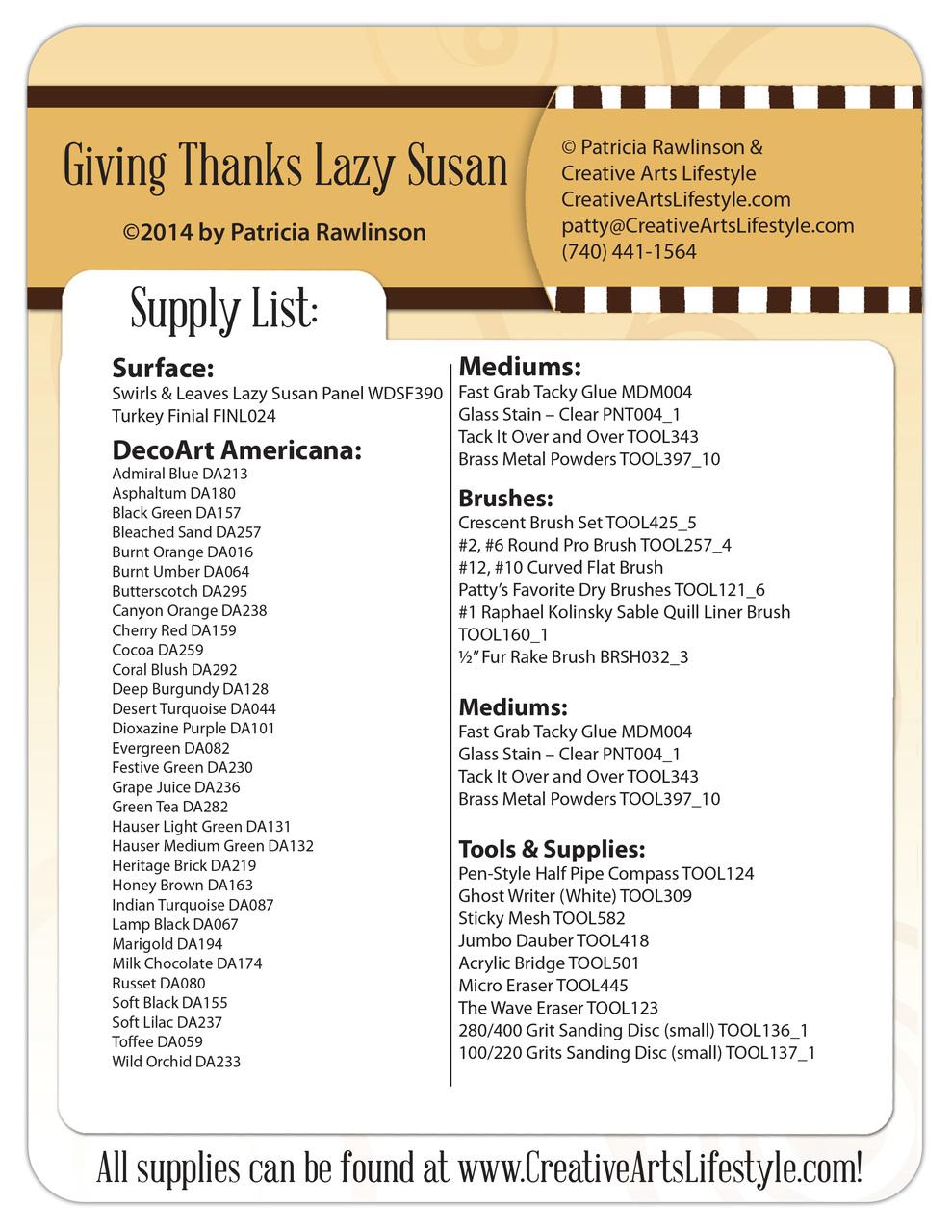 Giving Thanks Lazy Susan E-Packet - Patricia Rawlinson