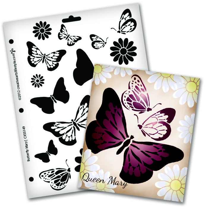 "Butterfly Magic Mary Stencil - 8 1/2"" x 11"""