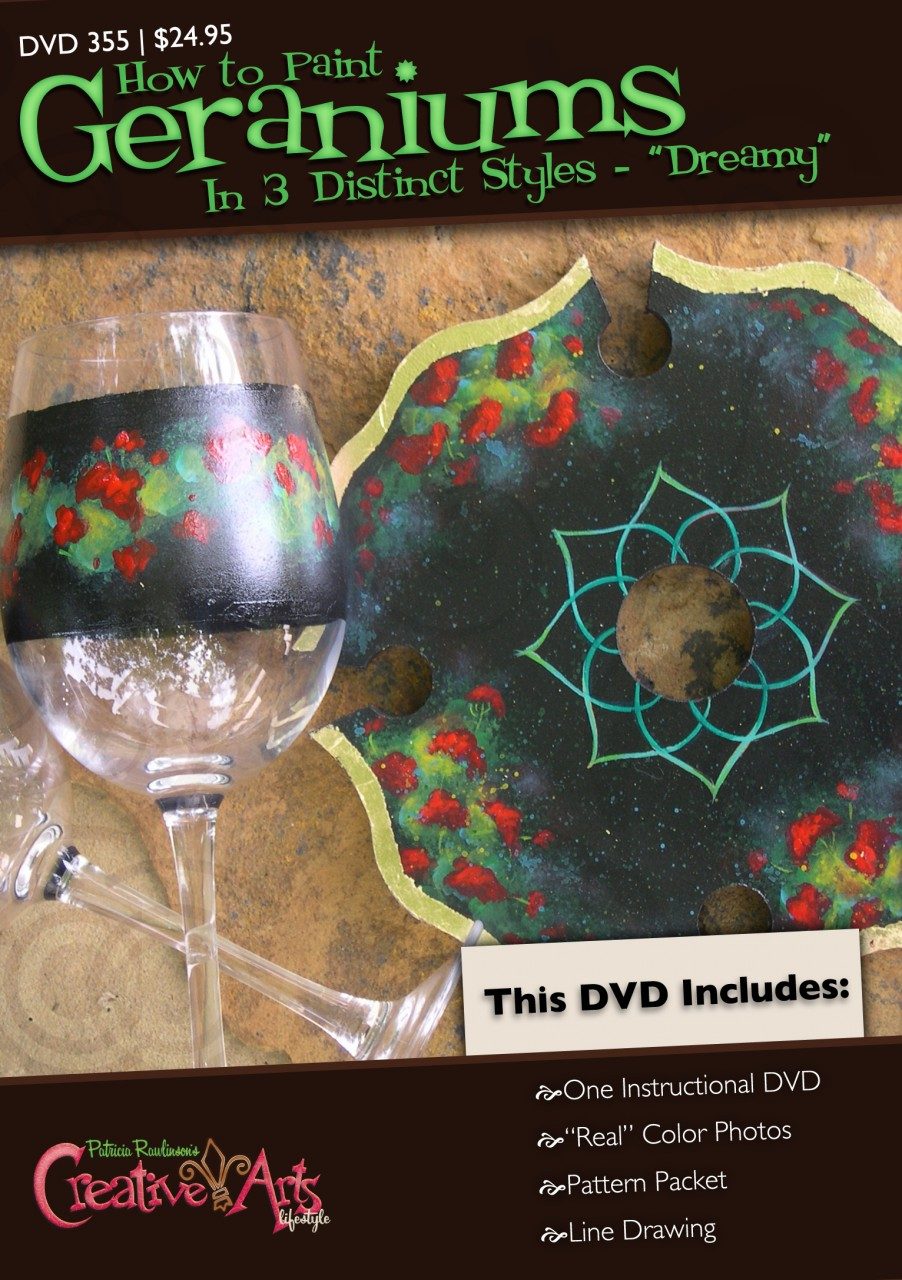 Geraniums Wine Topper and Glasses DVD and Pattern Packet - Patricia Rawlinson