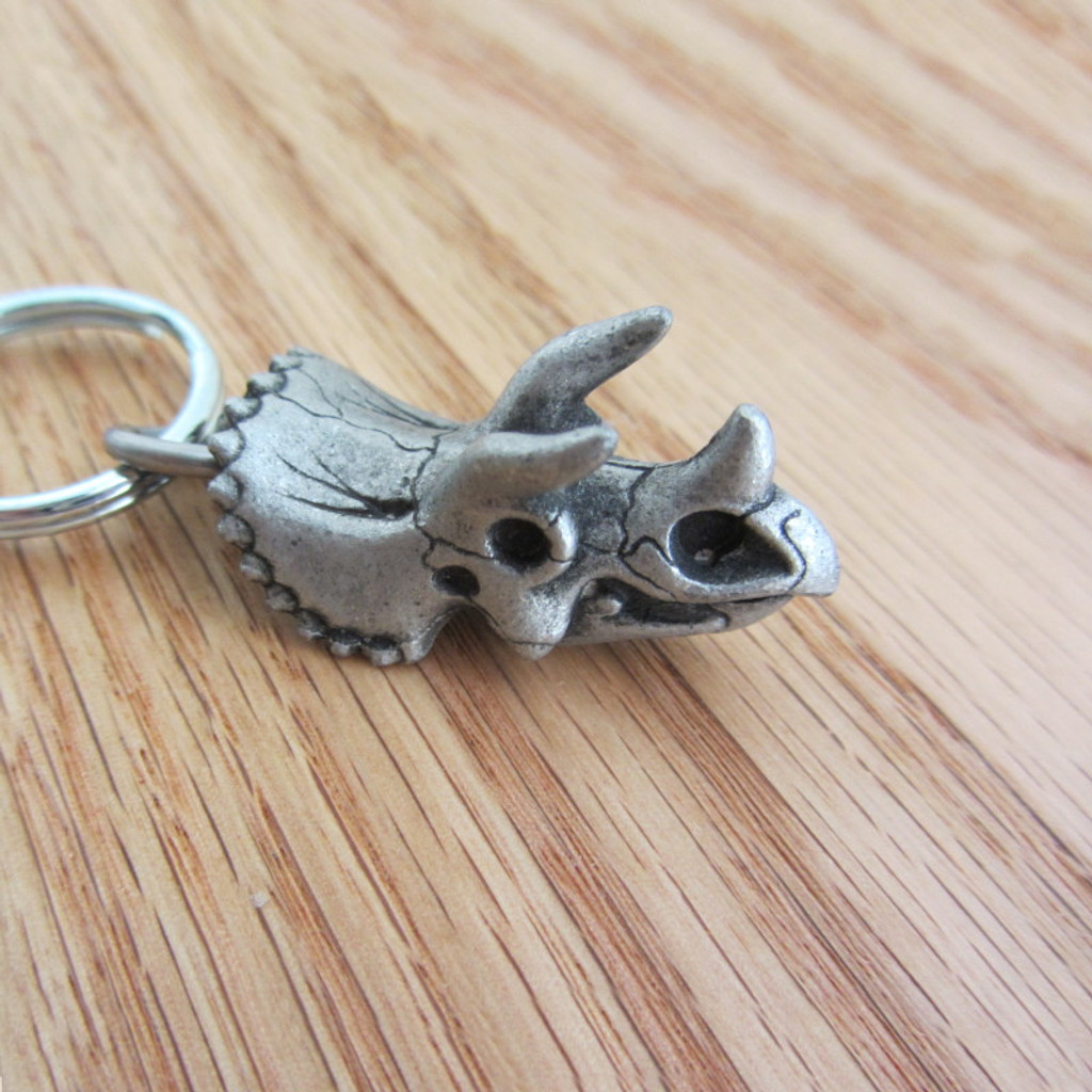 triceratops skull keychain