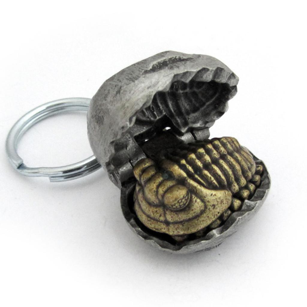 trilobite nodule keychain partially opened