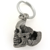 Human Skull Locket with cranium open