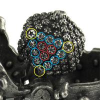 hsv virus keychain capsid proteins: yellow=penton, red=central hexon, blue= edge (peripentonal) hexon