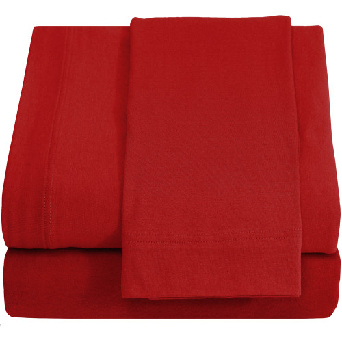 Twin XL Sheets - Jersey Knit - Red
