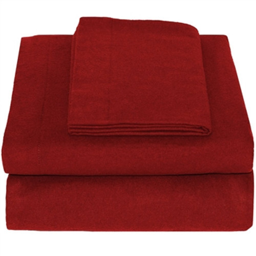 100% Cotton Flannel Sheet Set Twin XL - Red