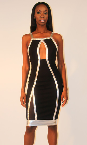 Mesh Inset Criss Cross Dress