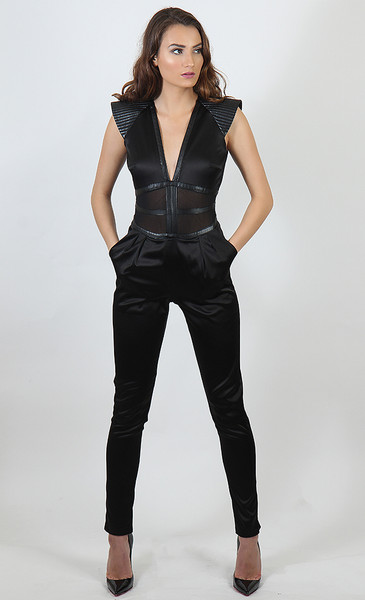Satin and Mesh Inset  Jumpsuit