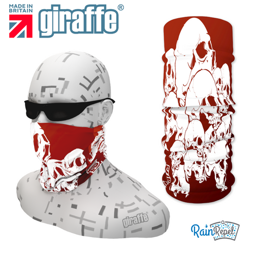 G288 White skulls Pile Blood Red Tube Bandana