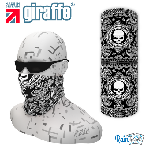 G557 Paisley Square Skull Black  Multi-functional Tube Bandana
