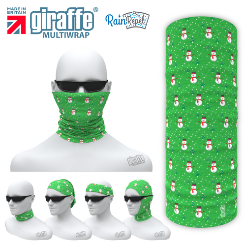 G528 Snowmen Green Gifts Design Face Mask Black Tube  Bandana