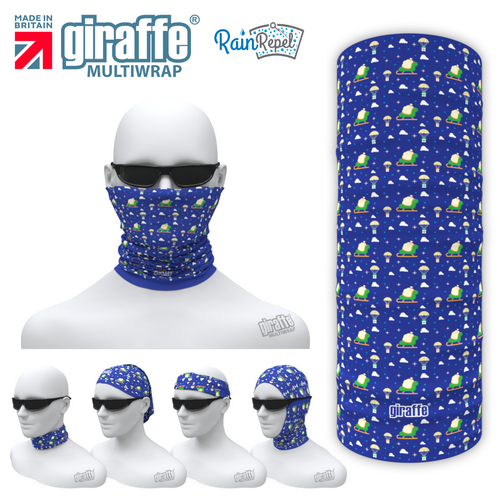 G529 Blue Santa Sledge Design Face Mask Black Tube  Bandana