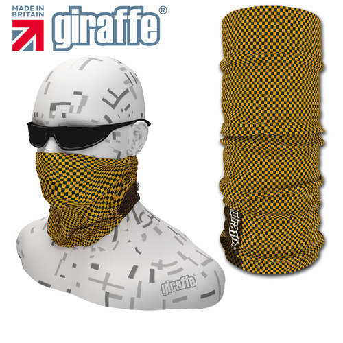 G-424 Checker Yellow Black Face Mask Black Tube  Bandana